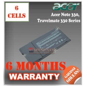 Baterai Acer AcerNote 330T, P2300/12 - Acer TravelMate 330, 340, 745T Series