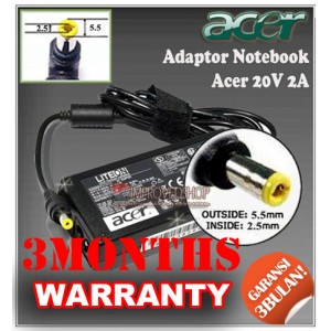 8.1 Adaptor Acer 20V 2A Series (Konektor 5.5 x 2.5mm)