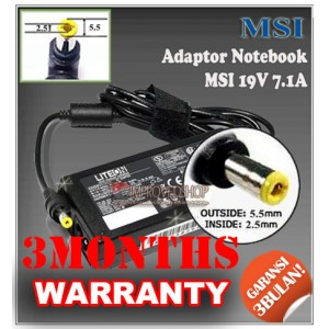 3.1 Adaptor MSI 19V 7.1A Series (Konektor 5.5 x 2.5mm)
