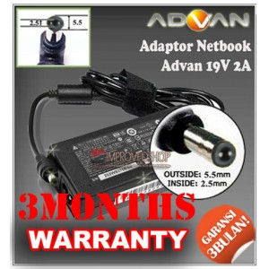 2.1 Adaptor Advan (Advance) Mini 19V 2A Series (Konektor 5.5 x 2.5mm)