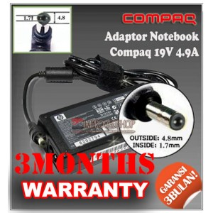 5.4 Adaptor Compaq 19V 4.9A Series (Konektor 4.8 x 1.7mm)
