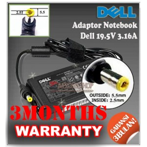 3.1 Adaptor Dell 19.5V 3.16A Series (Konektor 5.5 x 2.5mm)