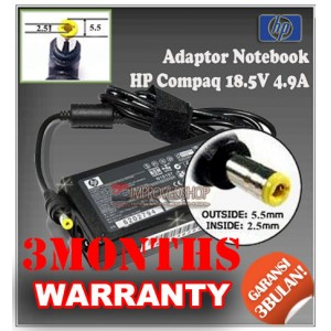 1.4.3 Adaptor HP-COMPAQ 18.5V 4.9A Series (Konektor 5.5 x 2.5mm)
