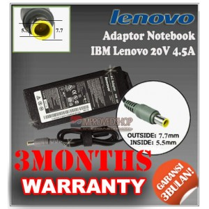 7.3 Adaptor IBM Lenovo 20V 4.5A Series (Konektor 7.7 x 5.5mm)