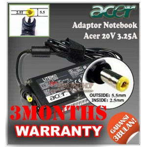 8.2 Adaptor Acer 20V 3.25A Series (Konektor 5.5 x 2.5mm)