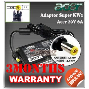 8.3 Adaptor Acer 20V 6A Series (Konektor 5.5 x 2.5mm)