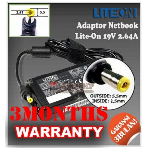 2.2 Adaptor Lite-On 19V 2.64A Series (Konektor 5.5 x 2.5mm)