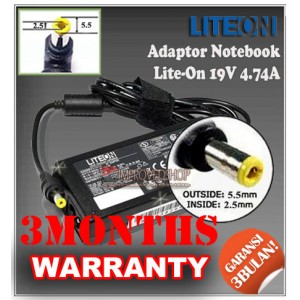 4.1 Adaptor Lite-On 19V 4.74A Series (Konektor 5.5 x 2.5mm)