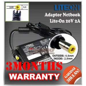 5.1 Adaptor Lite-On 20V 2A Series (Konektor 5.5 x 2.5mm)