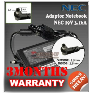 2.1 Adaptor NEC 19V 3.16A Series (Konektor 5.5 x 2.5mm)