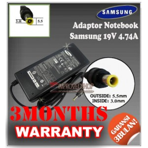 4.1 Adaptor Samsung 19V 4.74A Series (Konektor 5.5 x 3.0mm)