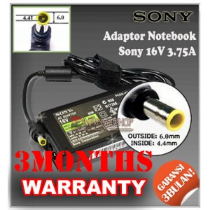 3.1 Adaptor Sony 16V 3.75A Series (Konektor 6.0 x 4.4mm)
