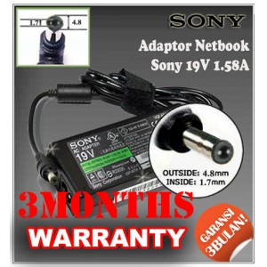 4.1 Adaptor Sony 19V 1.58A Series (Konektor 4.8 x 1.7mm)