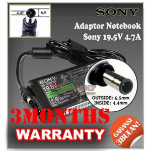 6.1 Adaptor Sony 19.5V 4.7A Series (Konektor 6.5 x 4.4mm)