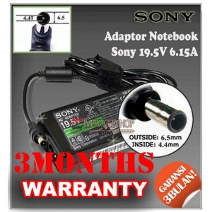 7.1 Adaptor Sony 19.5V 6.15A Series (Konektor 6.5 x 4.4mm)