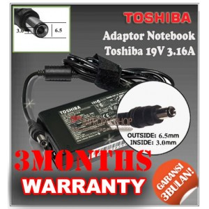 5.1 Adaptor Toshiba 19V 3.16A Series (Konektor 6.5 x 3.0mm)