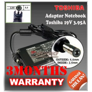5.4 Adaptor Toshiba 19V 3.95A Series (Konektor 5.5 x 2.5mm)