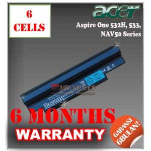 Baterai Acer Aspire One 532, 532G, 532H, 533, NAV50, NAV51, Emachine 350, Gateway LT2101, LT2110, LT2120 Series
