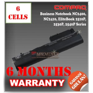 Baterai HP Compaq Business Notebook NC2400, NC2410, NC2510, 2510P, EliteBook 2510P, 2530P, 2533T, 2540P Series